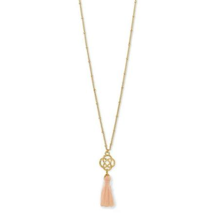 AzureBella Jewelry Gold-Tone Celtic Satellite Chain Necklace with Peach Thread Tassel