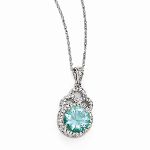 Cheryl M Sterling Silver W  Rhodium-plated Cubic Zirconia & Simulated Paraiba Tourmaline 18in. Necklace by Jewelrypot