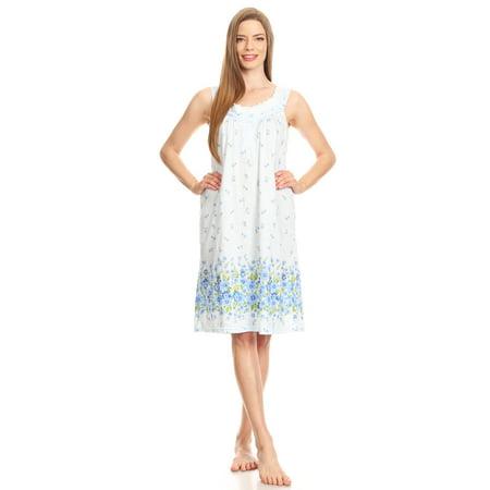 100125 Womens Nightgown Sleepwear Pajamas - Woman Sleeveless Sleep Dress Nightshirt Blue M