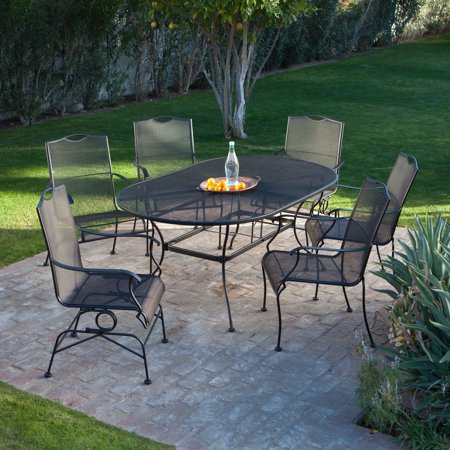 Wrought Iron Mesh - Belham Living Stanton Wrought Iron Dining Set by Woodard - Seats 6