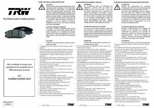 TRW TPC0551 Premium Front Disc Brake Pad Set