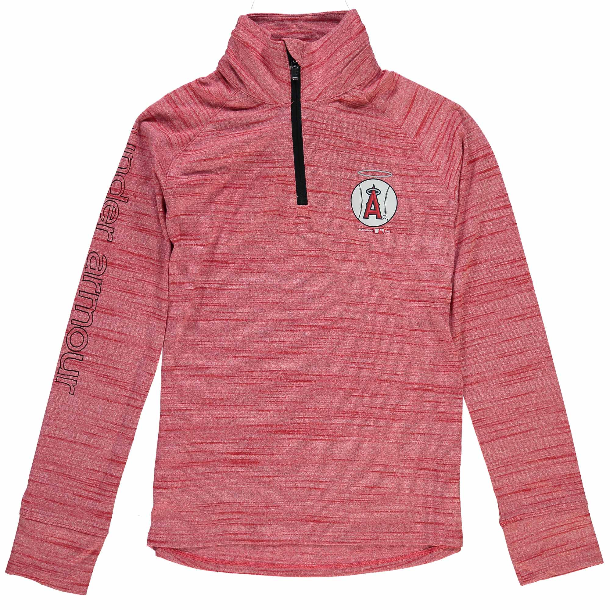 Los Angeles Angels Under Armour Youth Girls Space Tech Quarter-Zip Performance Jacket - Red