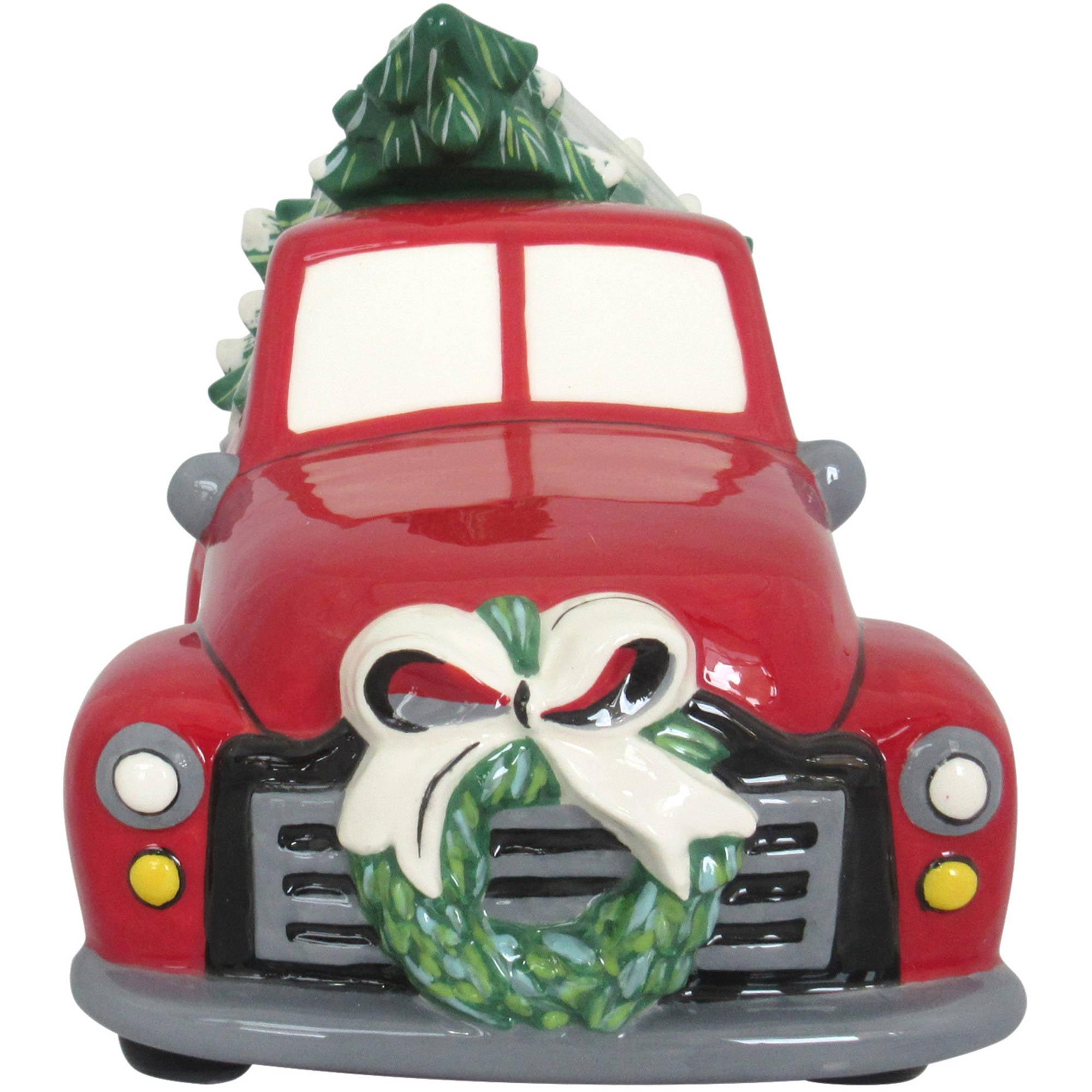 Earthenware Christmas Tree Truck Cookie Jar Walmart Com