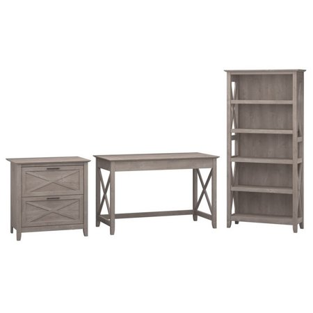 Bush Furniture Key West 48W Writing Desk 3 Piece Office Suite in Gray