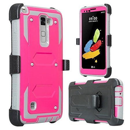 new style ad5dc 40c35 LG Stylo 2 Case, LG Stylo 2 V Case, Triple Protection 3-1 w/ Built in  Screen Protector Heavy Duty Holster Shell Combo Case - Hot Pink