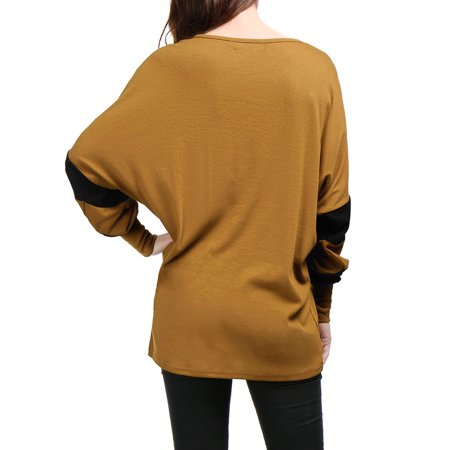 Unique Bargains Women Batwing Sleeve Color Block Loose Tunic Top Brown L - image 2 of 7