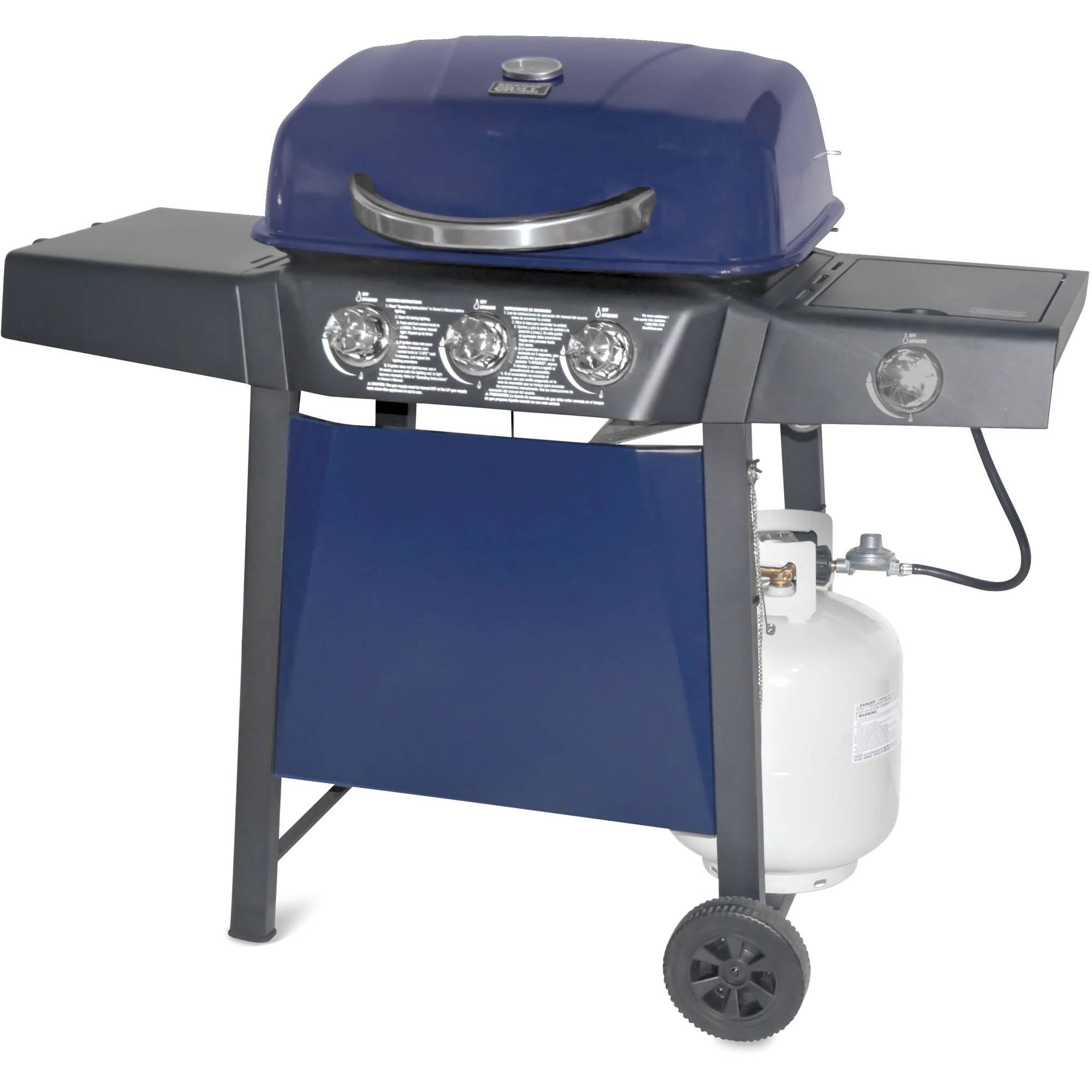 walmart 3 burner lp gas grill blue with side burner walmart com