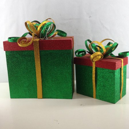 Red Christmas Decorations (2 Piece Green, Red and Gold Glittered Gift Box Christmas Decoration 14