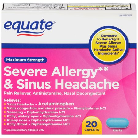 Equate Maximum Strength Severe Allergy   Sinus Headache Acetaminophen Caplets  325 Mg  20 Ct