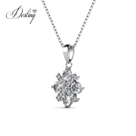 Destiny Jewellery Crystals from Swarovski Jewelry Set with 18k White Gold Plated, Pendant Earrings Set Charm Snowflake Shape Design for Women - image 6 of 9