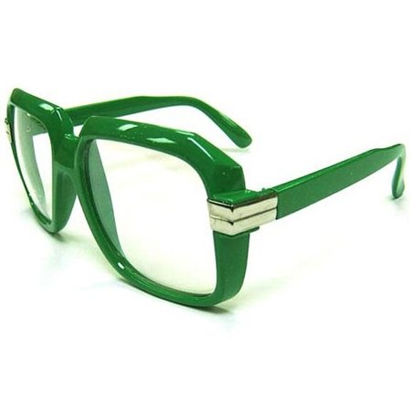 Oversized Green Hip Hop Glasses Rapper Run DMC Gazelle Rap Sunglasses 80s Metal - Superwoman Halloween Rap