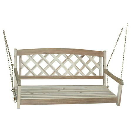 Porch Swing With Chain, X-Back, Unfinished