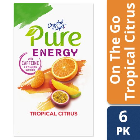 (4 Pack) Crystal Light Pure Energy Tropical Citrus Drink Mix with Caffeine and B Vitamins, 6 - 1.74 oz Boxes