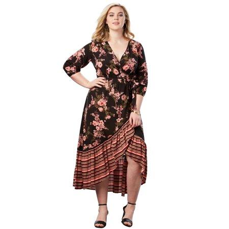 e5178ae6729 Roaman s - Plus Size High-low Wrap Dress - Walmart.com