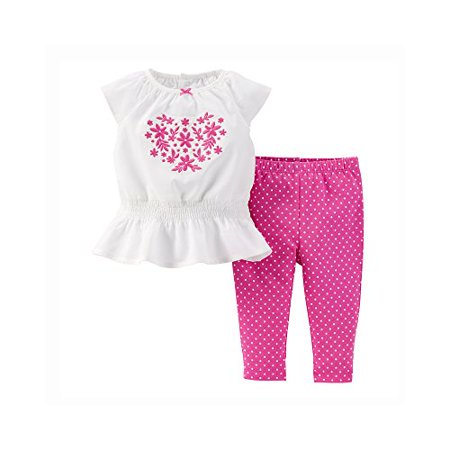 Baby Girls' 2-Piece Embroidered Top & Pant Set (3 Months)