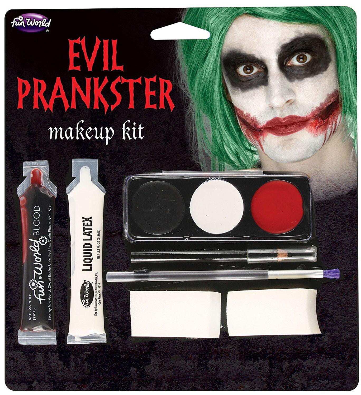 Halloween Evil Prankster/Joker Make Up Kit with Latex, Blood, Makeup ...