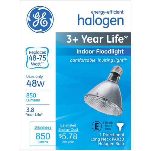 GE energy-efficient halogen 48 watt PAR30 longneck floodlight 1-pack