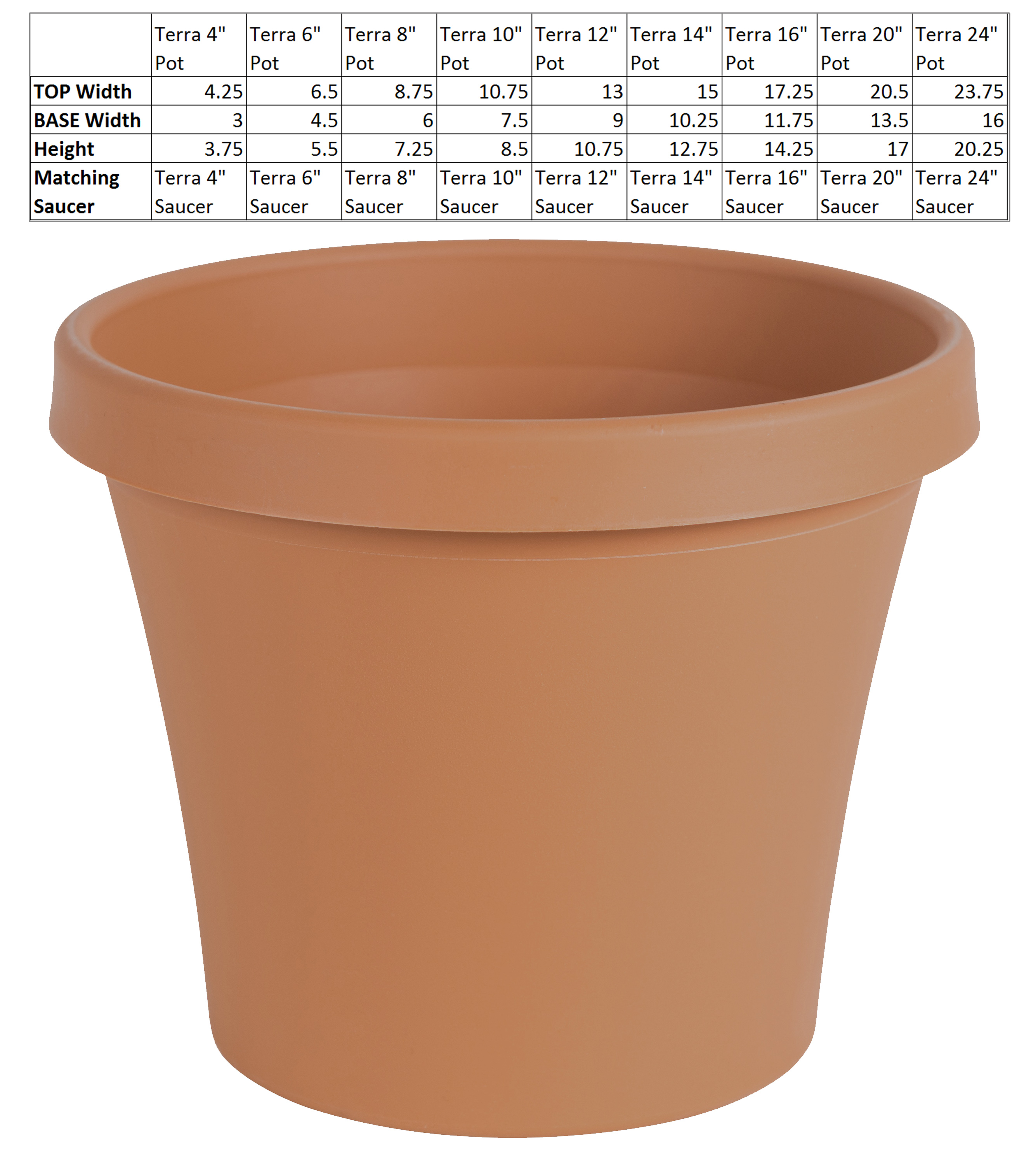 "Bloem Terra Pot Planter 16"" Terra Cotta by Bloem"