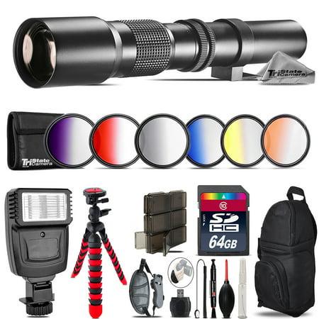 500mm Telephoto Lens for Nikon D3100 D3200 + Flash + 72