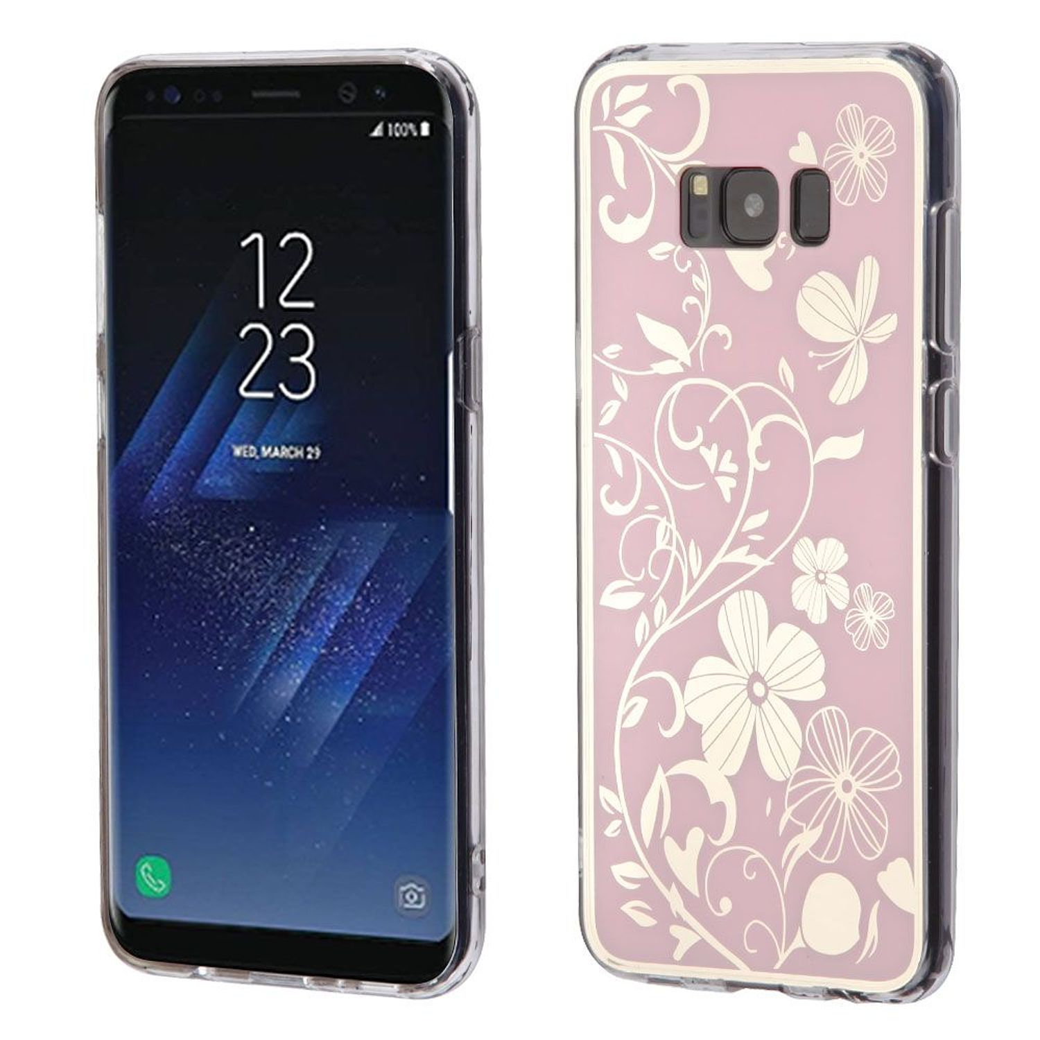 Insten Electroplating Flowers TPU Rubber Candy Skin Case Phone Cover For Samsung Galaxy S8, Pink