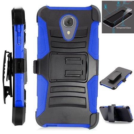 For Alcatel idealXTRA | 1X Evolve (2018) | TCL LX Phone Case +Tempered Glass Hybrid Cover w/ Holster (Black/Blue)