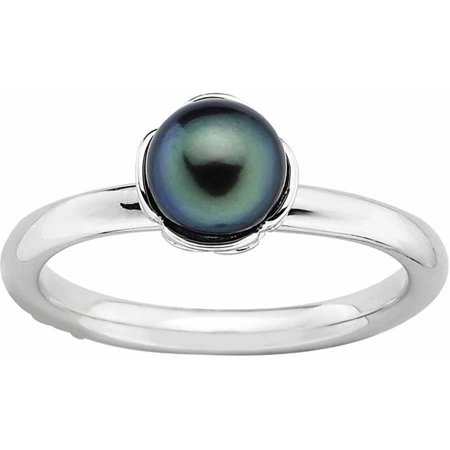 Birthstone Stack Rings (Sterling Silver Stack Exp. Polished Black FW Cultured Pearl)