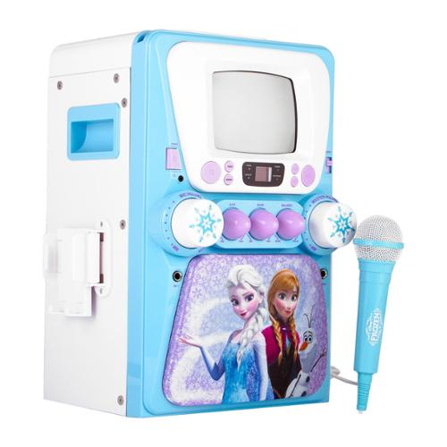 Sakar Kids Frozen Screen Karaoke - Frozen Screen Karaoke - Kids Karaoke - Featuring Frozen - Sing Along - Play Music From Ios Device - Tablet - Or Built In Cd Player - Hand Held Mic - Connect (69127)