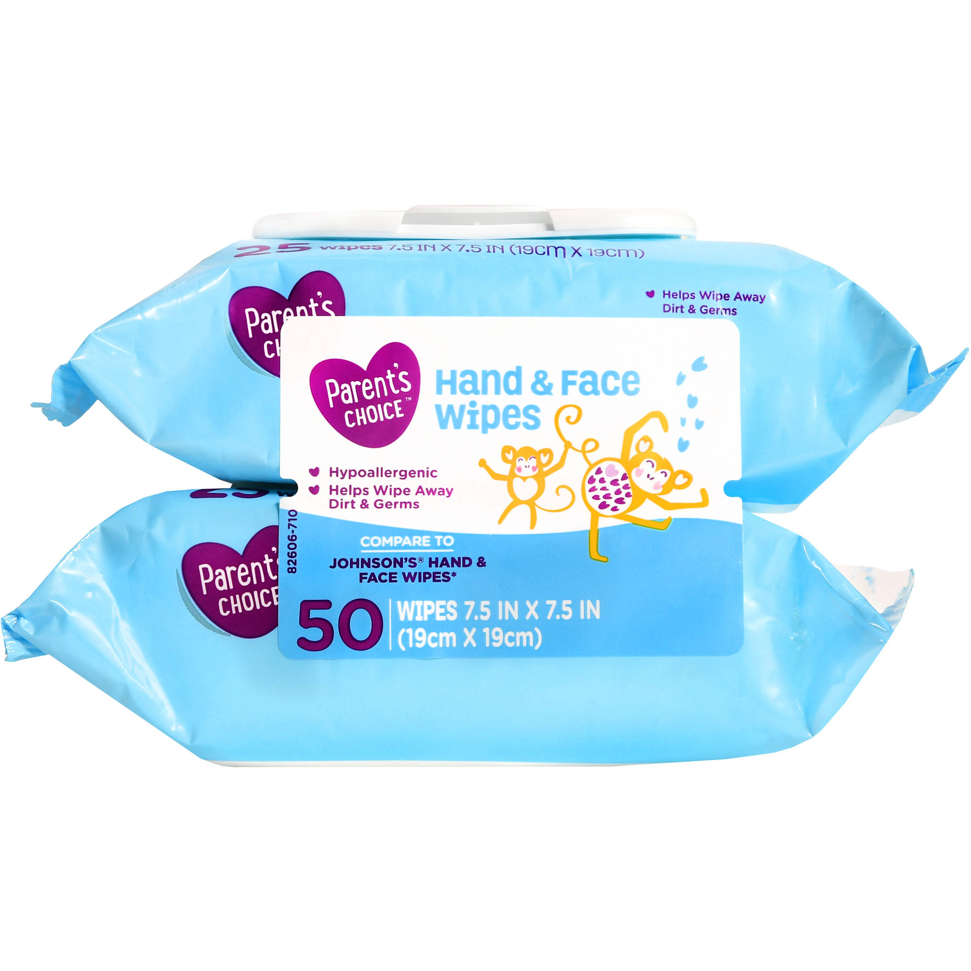 Parent's Choice Hand & Face Wipes, 2 packs of 25 (50 count)