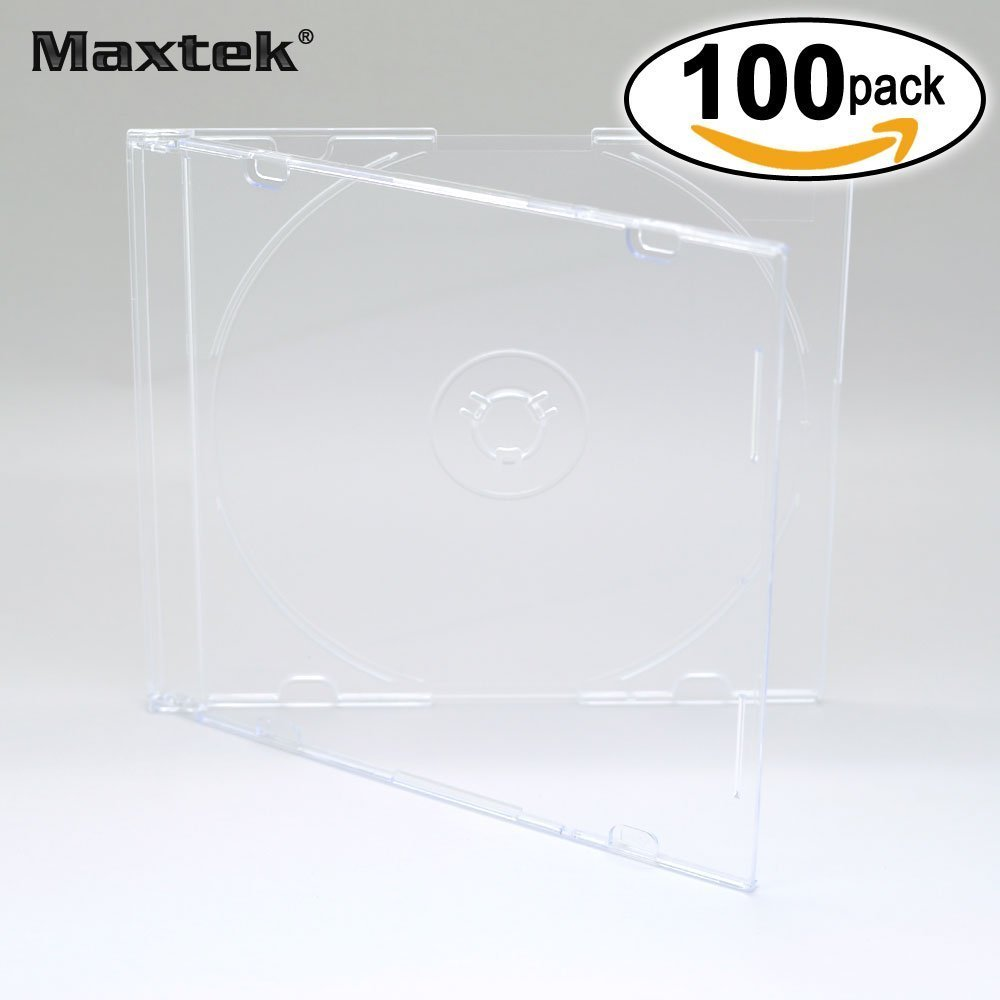 Maxtek Ultra Thin 5.2mm Slim Clear CD Jewel Case with Built in Black Tray 100 Pack.
