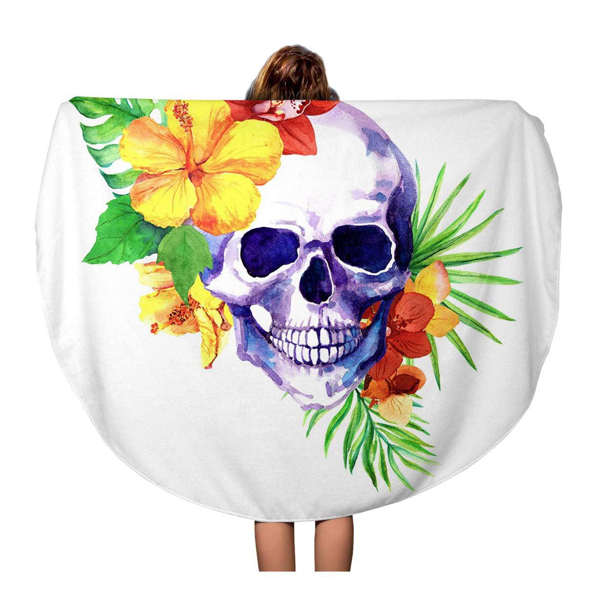 Sidonku 60 Inch Round Beach Towel Blanket Colorful Human Skull Exotic Leaves Tropical Flowers Hibiscus Orchid Travel Circle Circular Towels Mat Tapestry Beach Throw Walmart Com Walmart Com