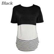 Women Short Sleeve Breastfeeding Shirt Striped Patchwork Back Lace Maternity Breastfeeding Nursing Tops Blouse
