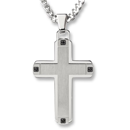 Stainless Steel Brushed Finished Center Cross (Brushed Cross Pendant)