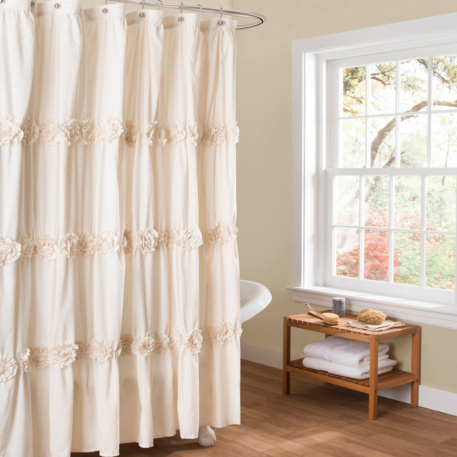 Darla Ivory Shower Curtain by Triangle Home Fashions