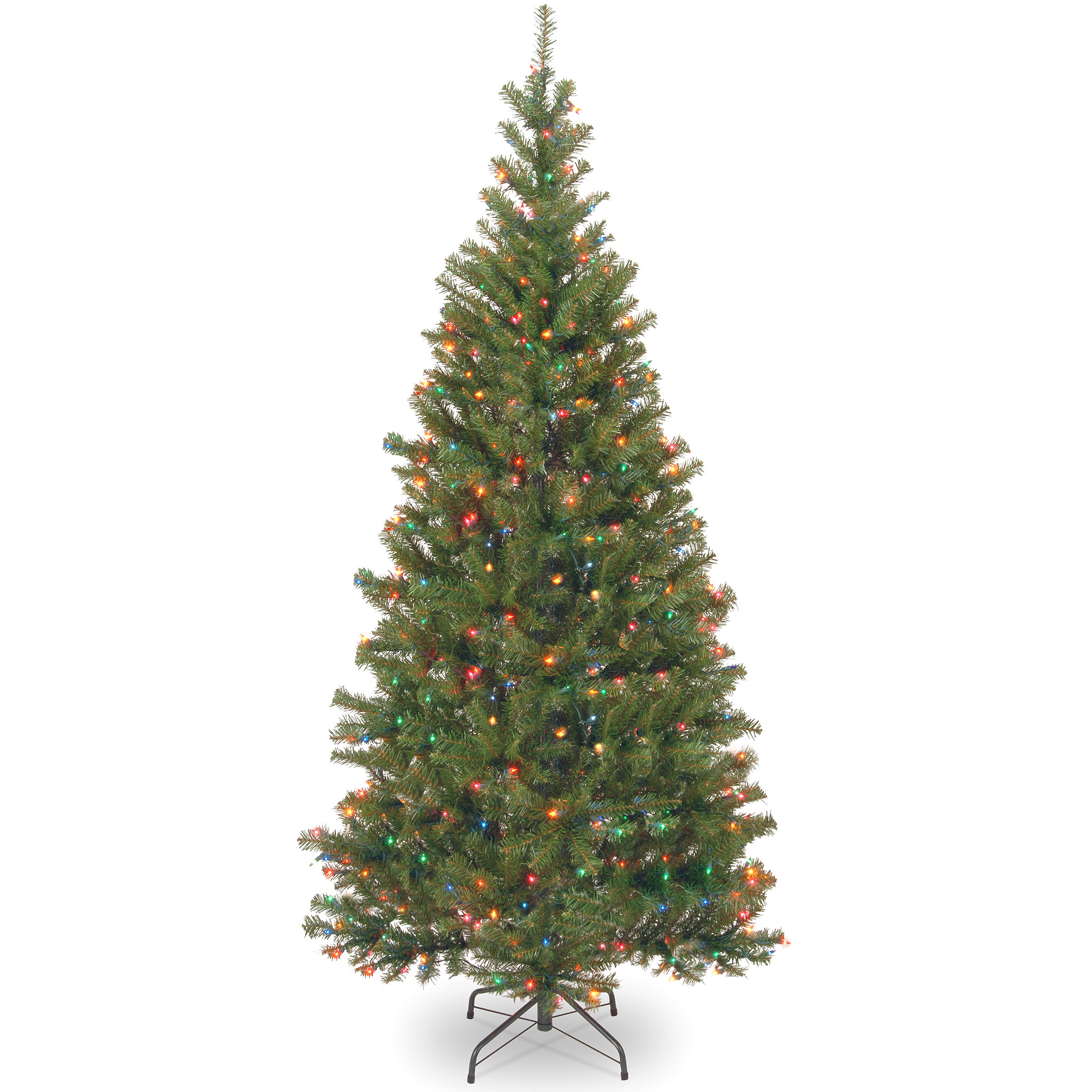 National Tree Pre-Lit 7' Aspen Spruce Hinged Artificial Christmas Tree with 400 Multi Lights