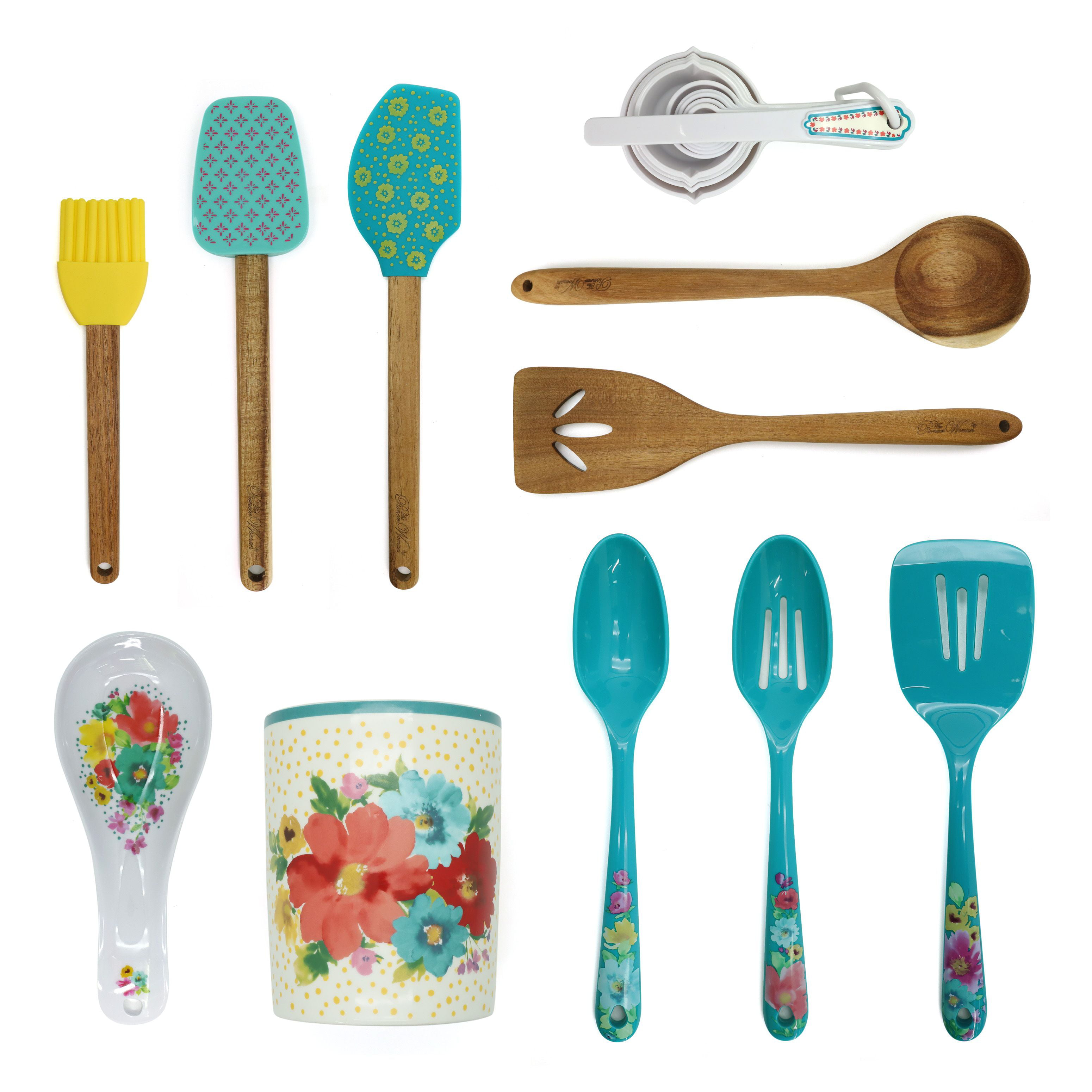The Pioneer Woman Breezy Blossom 20-Piece Tool and Crock Set