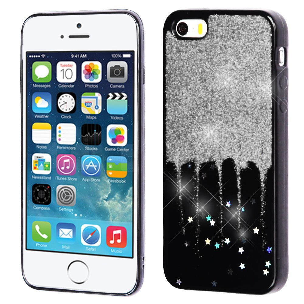 iPhone SE Case, iPhone 5S Case, by Insten Glittering Silver Stars (Black) Krystal Gel Series TPU Candy Skin Case For Apple iPhone SE / 5 / 5S - Red - image 3 of 3
