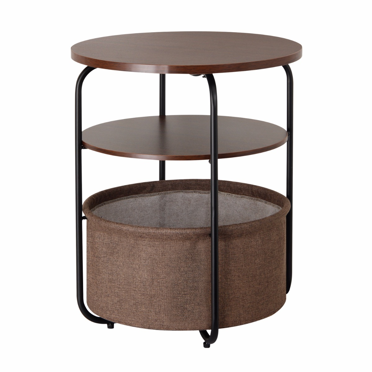 Lifewit 3-tier Round Side End Table with Storage Basket, Nightstand, Espresso