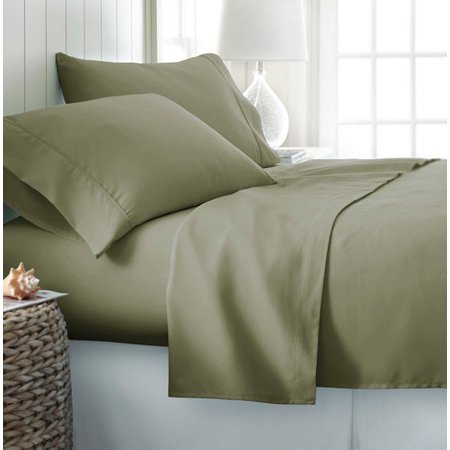 4-PC Sage Full Solid Bamboo Viscose Bed Sheet Set, Eco-Friendly, Deep Pocket, And Silky Soft With Extra Thick Corner Elastics Straps on Fitted