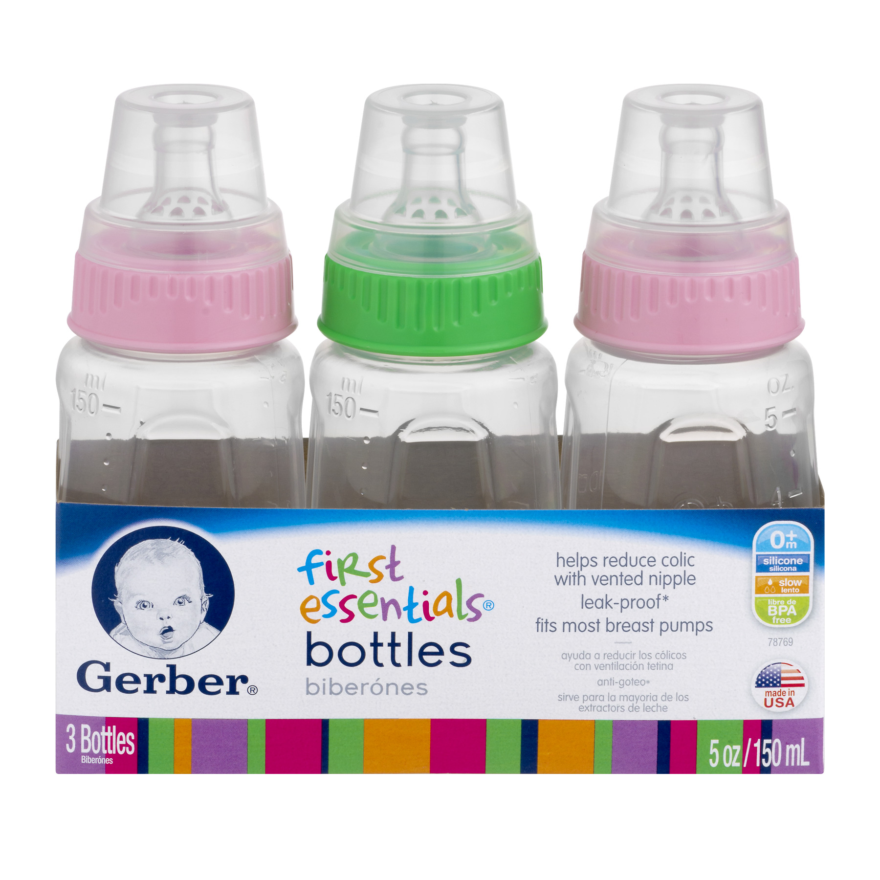 Gerber First Essentials Bottles 5 OZ, 0m+, 9 CT