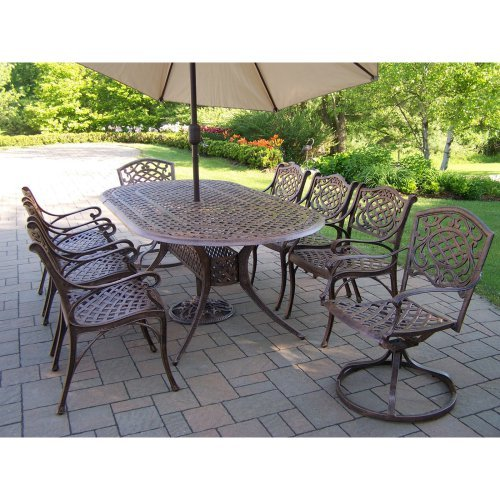 Oakland Living Mississippi Aluminum 82 x 42 in. Oval Patio Dining Set with Swivel Chairs & Tilting Umbrella with Stand - Seats 8