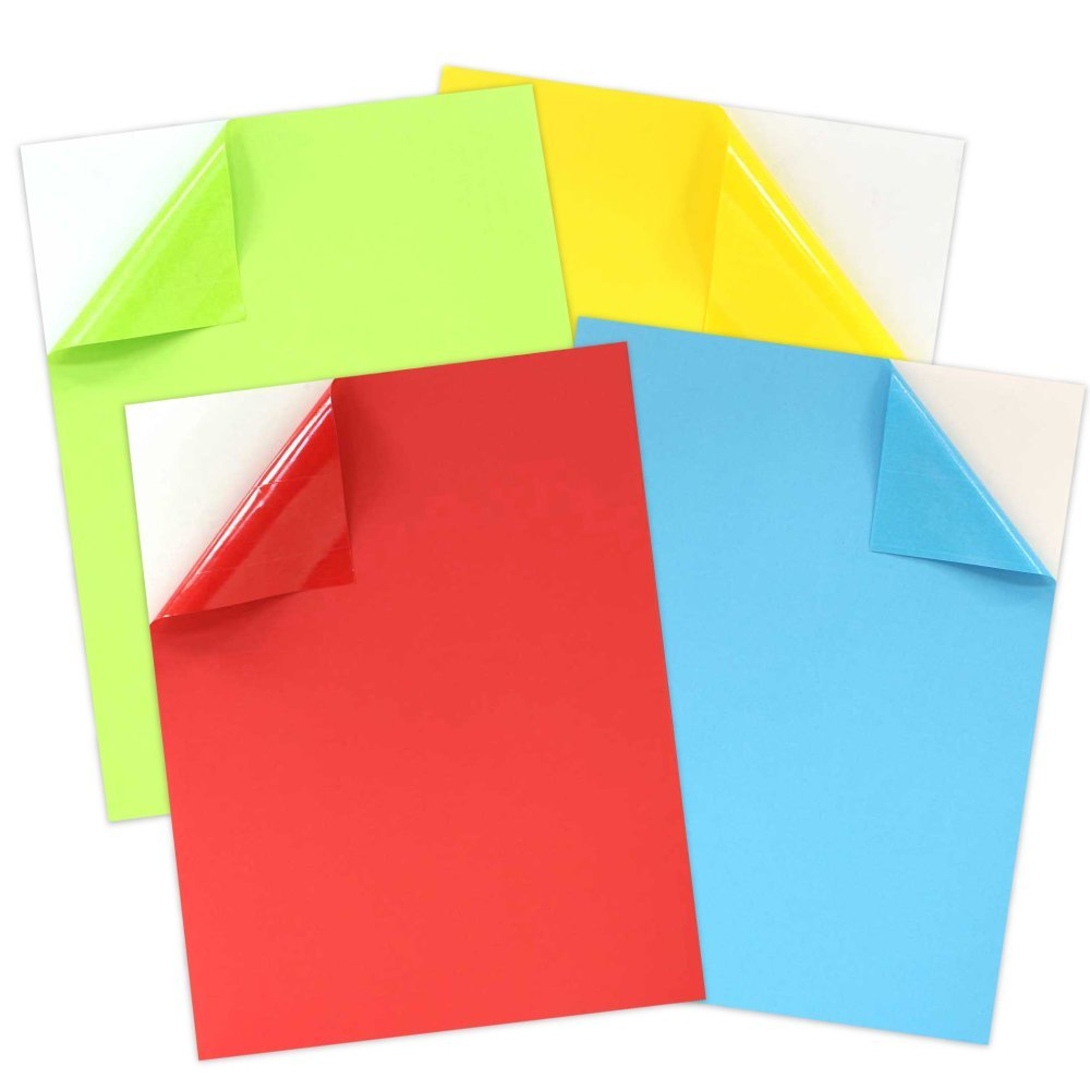 JAM Paper Full Page Labels, 8.5 x 11 Sticker Paper, Assorted Bright Primary Colors, 40/pack