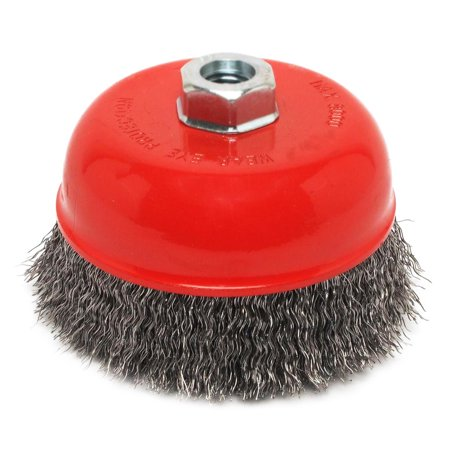 Robtec 4 in. x 5/8 in.-11 Threaded Arbor Crimped Wire Cup Brush