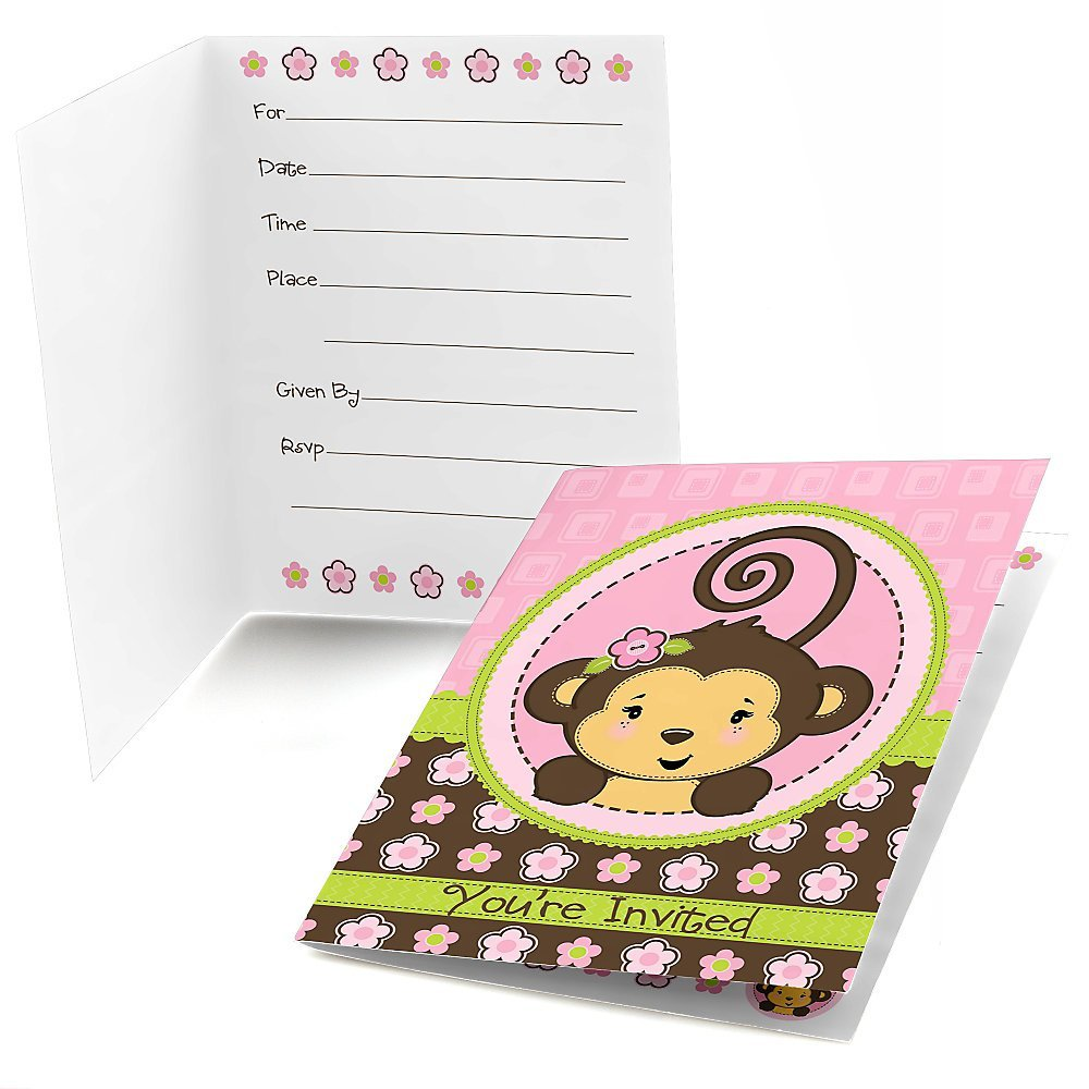Monkey Girl - Fill In Baby Shower or Birthday Party Invitations (8 count)