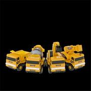 Mota YLLWCAR-SET4 Mini Construction Toy Trucks, Set of 4 - Yellow