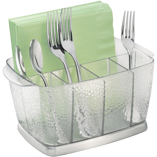 InterDesign Rain Silverware, Flatware Caddy Organizer for Kitchen Countertop Storage, Dining Table, Clear