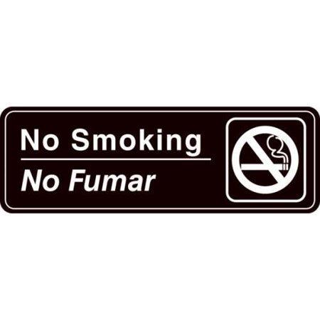 Bilingual No Smoking Acrylic Architectural Sign, Interior, 9 x 3