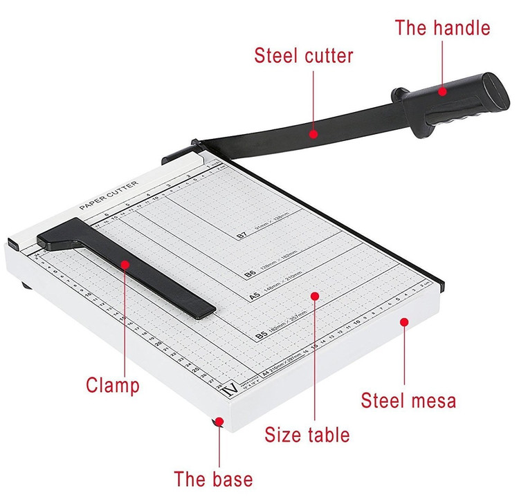 12 Inch Paper Trimmer or Paper Cutter A4 B5 A5 B6 B7 Cut Length 12 SHeets Capacity Office School Home Supplies by