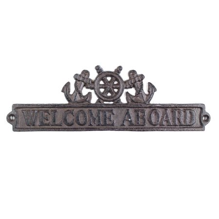 cast iron welcome aboard sign with ship wheel and anchors 9 inch (Ship Abroad)