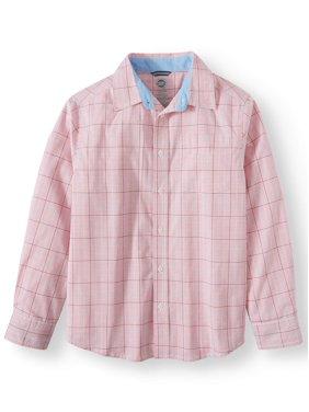 Wonder Nation Long Sleeve Stretch Button Up Plaid Shirt (Little Boys, Big Boys, & Husky)
