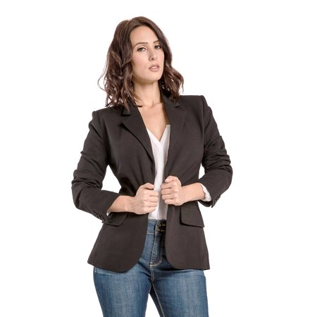 Miss Halladay Women Black Stretch Ponte Full Lined Tailored Blazer Flap Pocket